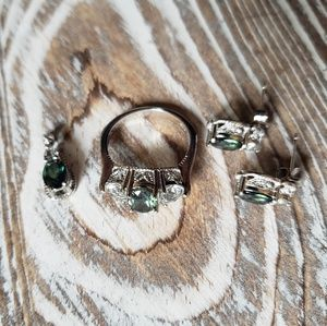 Jewelry - Sterling Silver green stone ring, pendant, earring